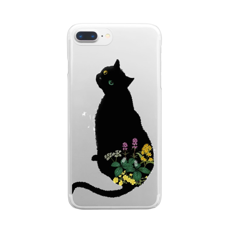Little fingerの花と黒猫 Clear smartphone cases