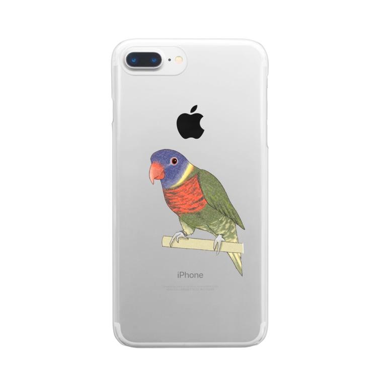 まめるりはことりの色合いが綺麗なゴシキセイガイインコちゃん【まめるりはことり】 Clear smartphone cases