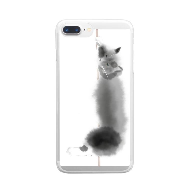 C Nのノルウェージャンフォレストキャット黒猫 Clear smartphone cases