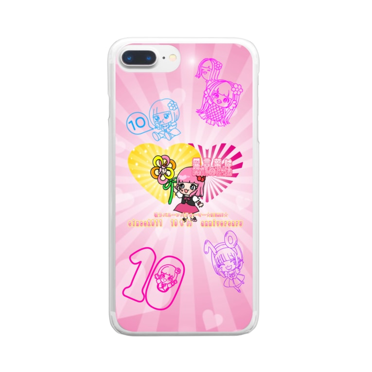 歌うバルーンパフォーマMIHARU✨〜あいことばは『笑顔の魔法』〜😍🎈のMIHARU10周年💖スマホケース💖 Clear smartphone cases