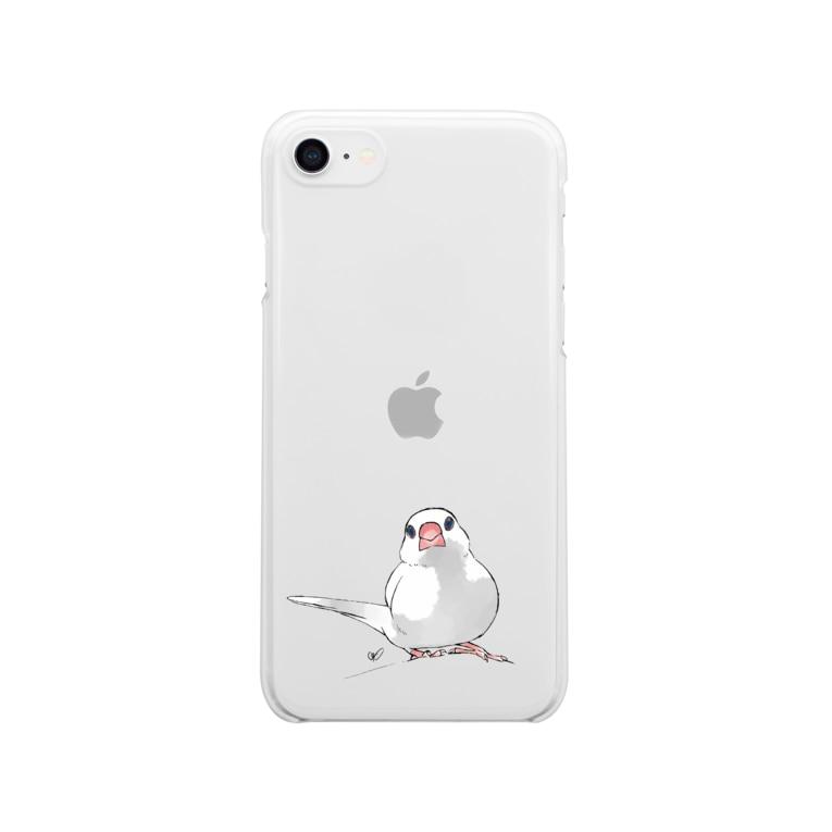calcalの尾曲がり白文鳥 Clear smartphone cases