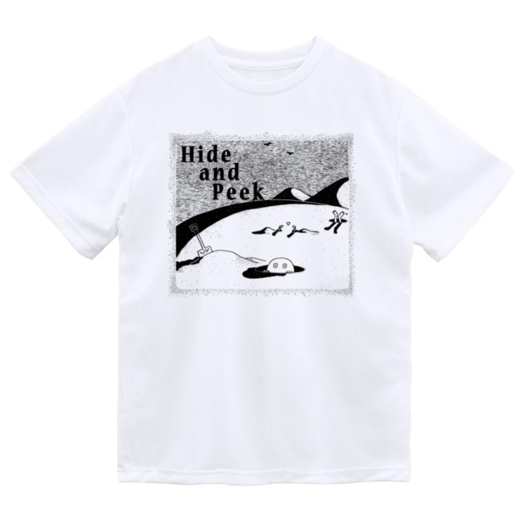 Planet EvansのHide and Peek 穴の中(背景無色) Dry T-shirts
