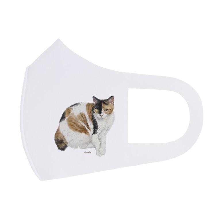 kinako-japanの三毛猫もなか Full Graphic Mask