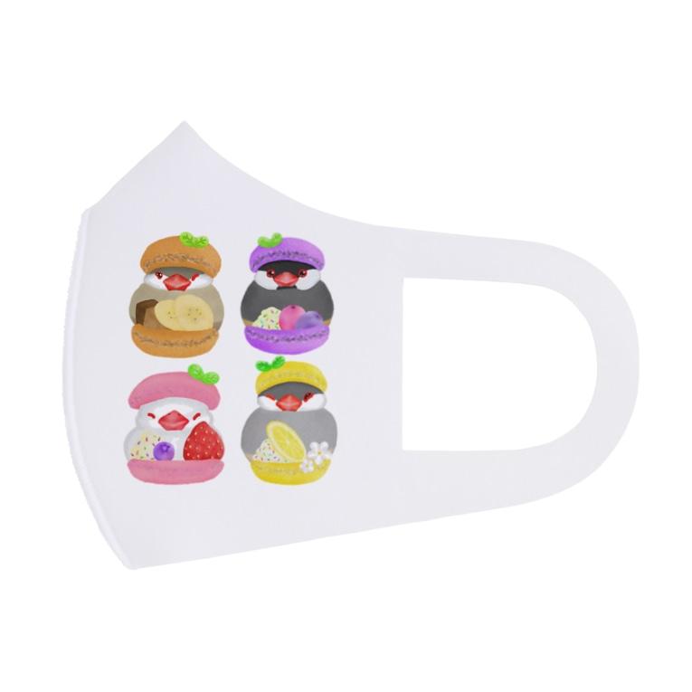 Lily bird(リリーバード)のぎゅっ♪マカロン文鳥ず Full Graphic Mask