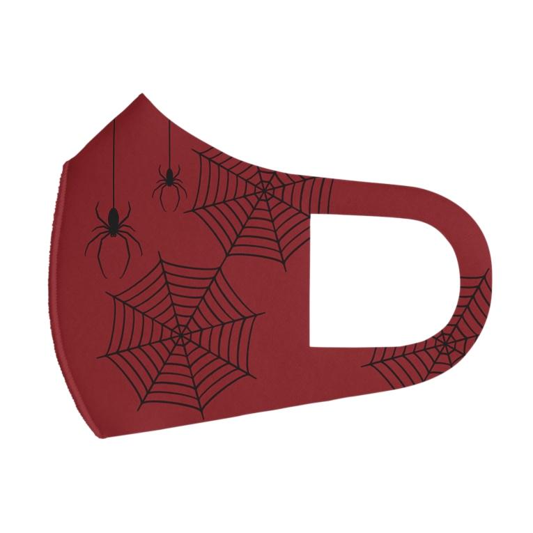 イラストレーターみやもとかずみのオリジナルグッズ通販 ∞ SUZURI(スズリ)のお洒落な蜘蛛と蜘蛛の巣 Full Graphic Mask