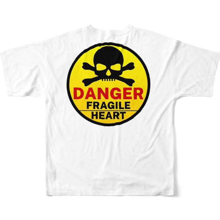 PB.DesignsのFRAGILE HEART -yellow- Full graphic T-shirtsの背面