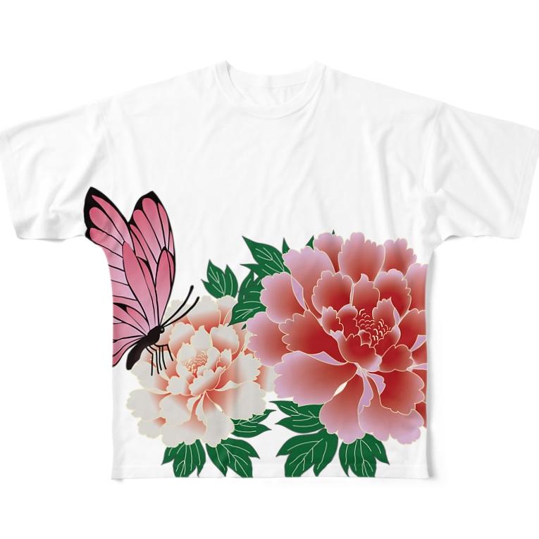 Drecome_Designの牡丹と蝶々 Full graphic T-shirts