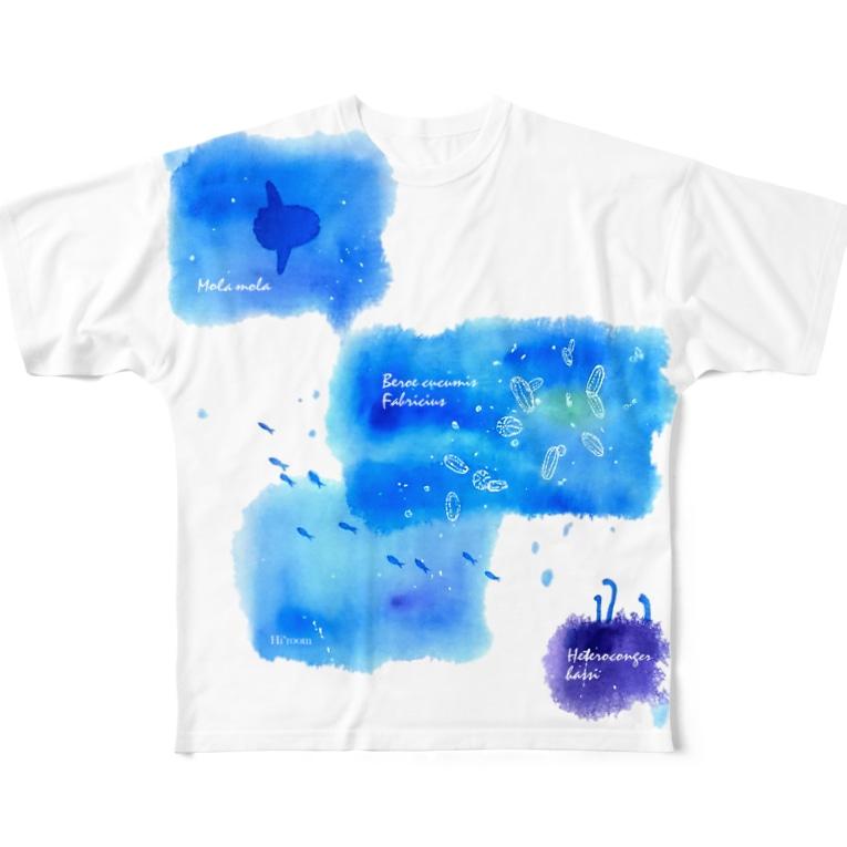 Hi*roomのウリクラゲとマンボウとチンアナゴの四角い海 Full graphic T-shirts