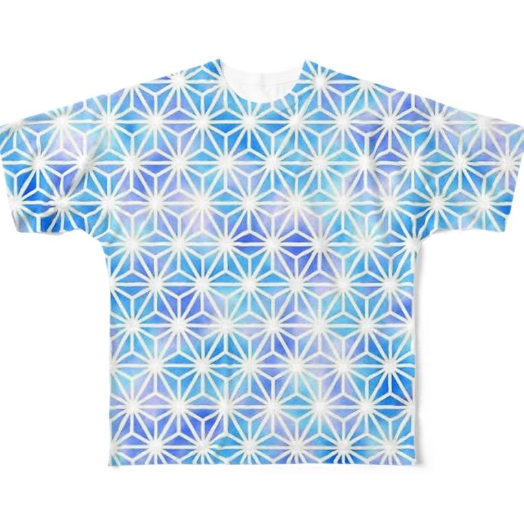 風丸本舗の麻の葉文様 Full graphic T-shirts