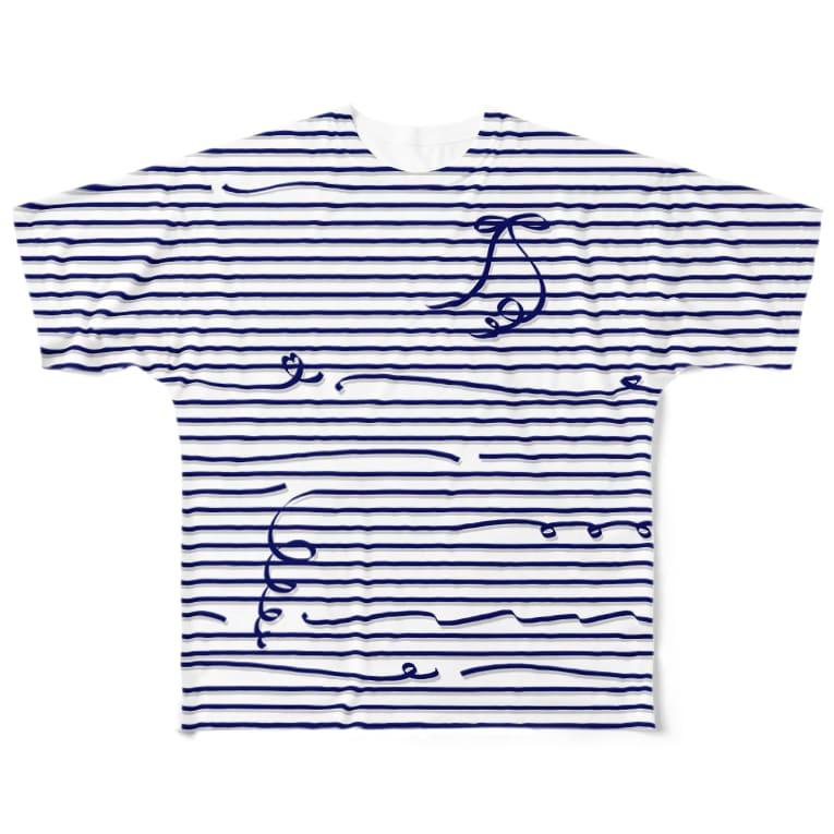dizzyのNavy Stripes Full Graphic T-Shirt