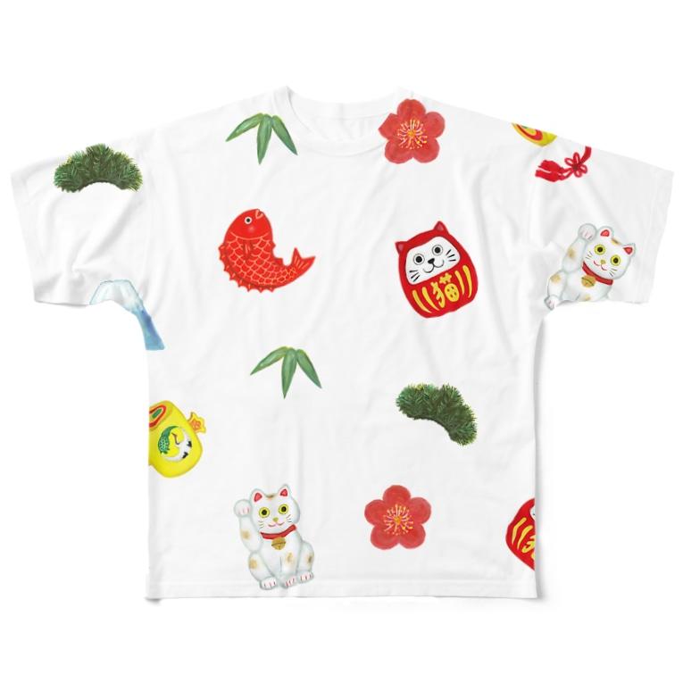 わたべ めぐみの縁起物Mix Full graphic T-shirts