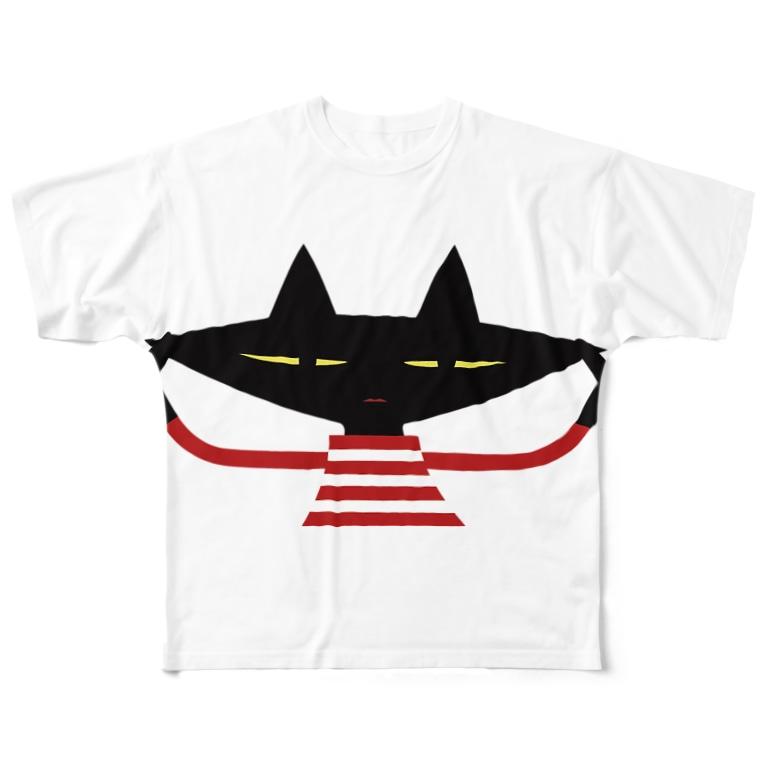Qumi Nishioのクミン黒ねこ  Full graphic T-shirts