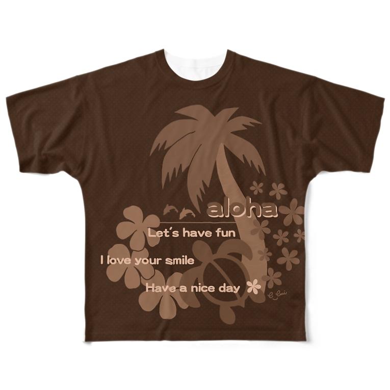 emiのALOHA Brown Full graphic T-shirts