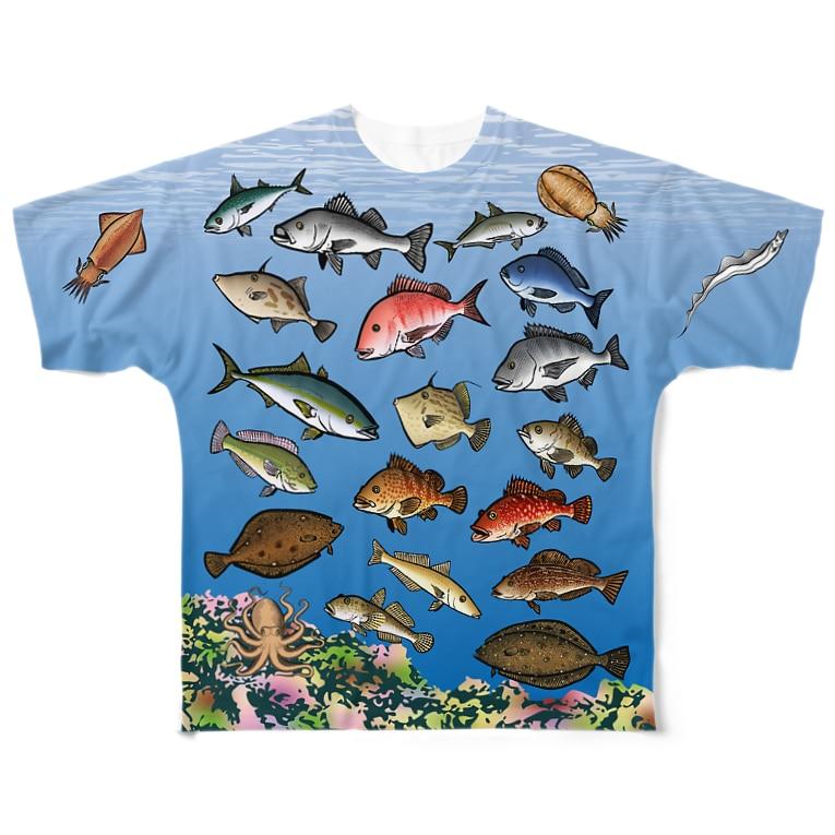 猫と釣り人のKAISUIGYO_1FB_C Full graphic T-shirts
