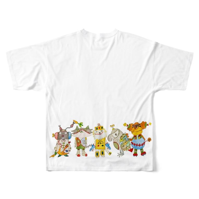 ねこぜや のROBOBO「全員集合!」スチームパンク   猫 犬 鳥 うさぎ Full graphic T-shirtsの背面