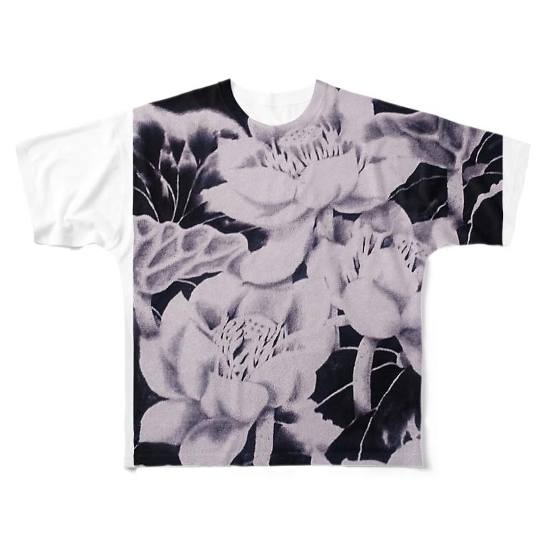 水墨絵師 松木墨善の墨蓮 Full graphic T-shirts