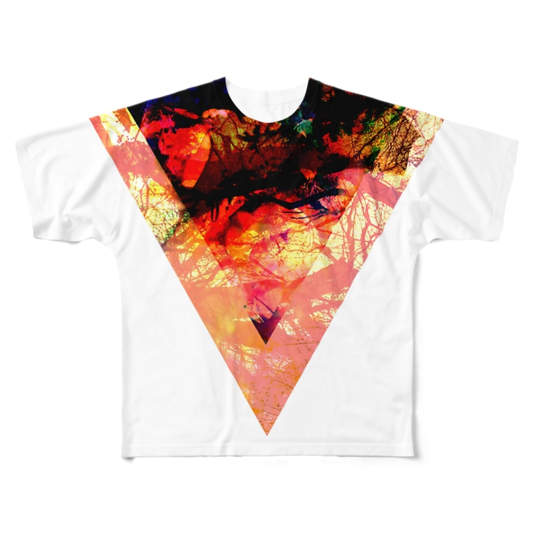 【三角形の穴】の▼3【逆三角形の穴】 Full graphic T-shirts