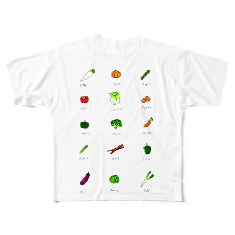 yu-popのフレッシュ野菜 Full graphic T-shirts