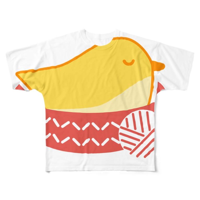 手編みの鳥の巣を届ける会のロゴ特大 Full graphic T-shirts
