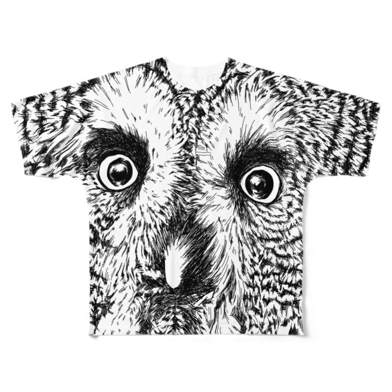 プリズモリイの箱のつぶらな瞳のカラフトフクロウ Full graphic T-shirts
