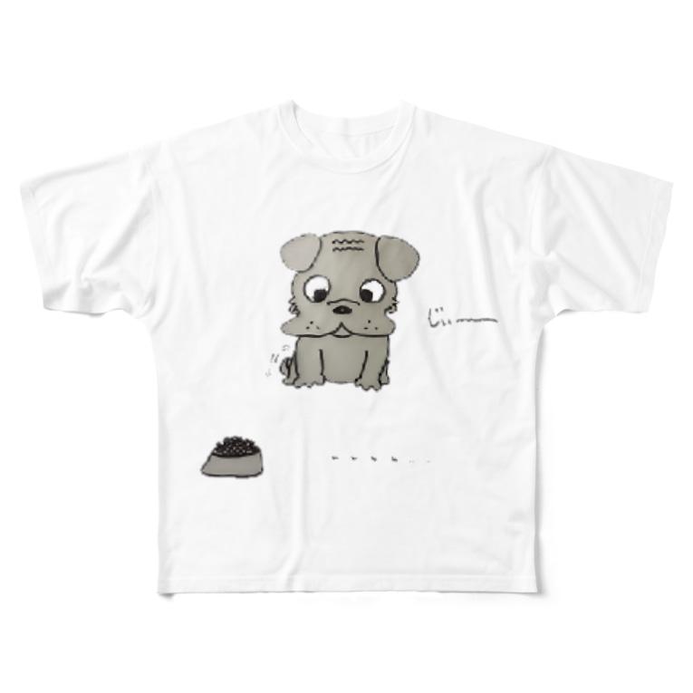 antienneのベビー黒パグのアリンコ観察♪ Full graphic T-shirts