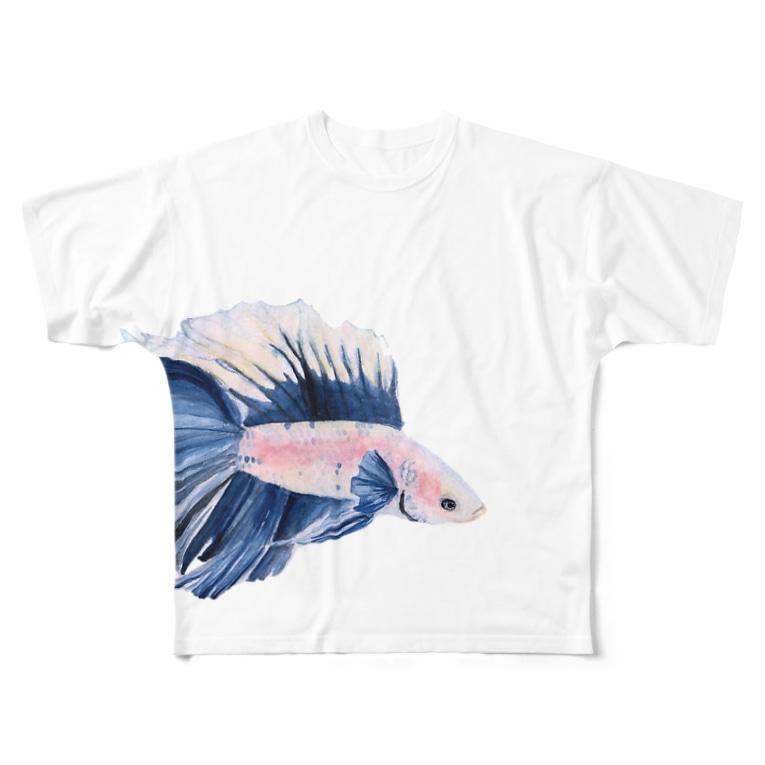 ばすての濃青のベタ Full graphic T-shirts
