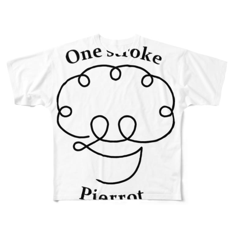 One stroke PierrotのOne stroke  Pierrot Full graphic T-shirts