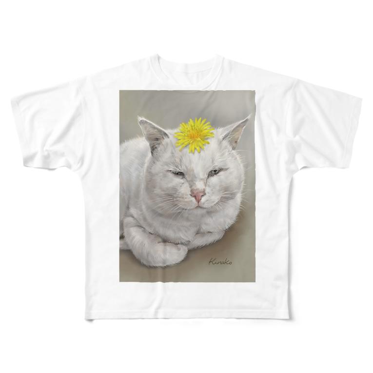 kinako-japanのしーちゃん たんぽぽのせて Full graphic T-shirts