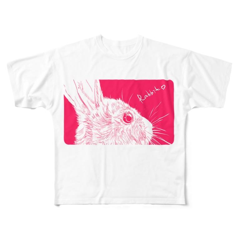Antcreateのぴんく兔 Full graphic T-shirts
