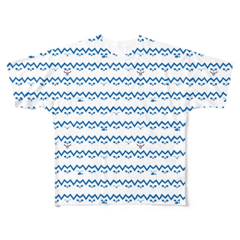 ソーメンズのねこボーダー Full graphic T-shirts