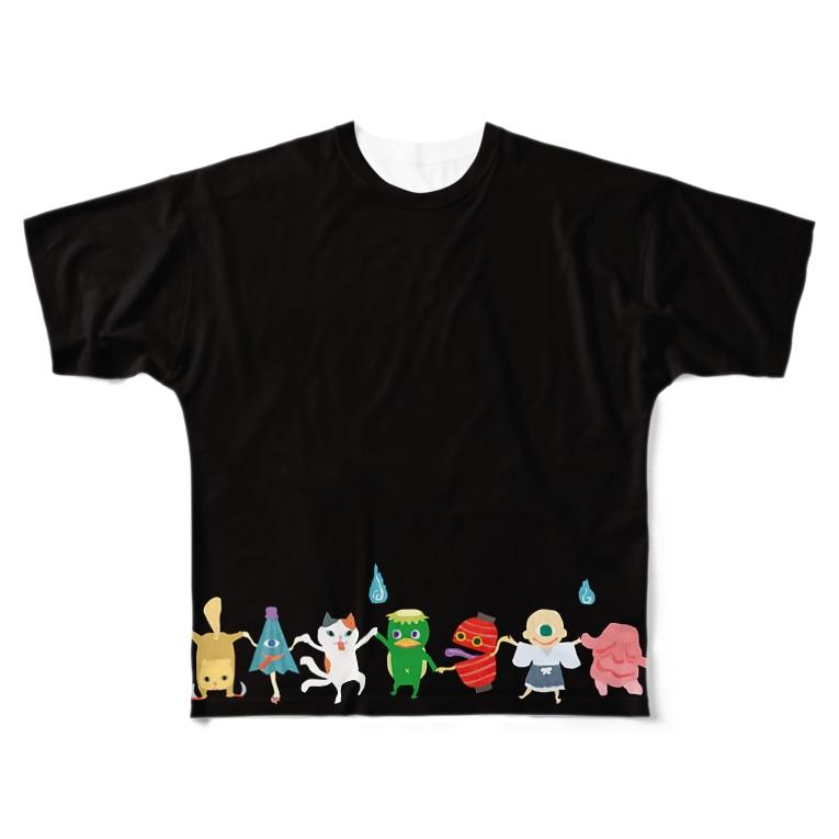 おばけ商店のおばけTシャツ<FULL・妖怪ラインダンス> Full graphic T-shirts