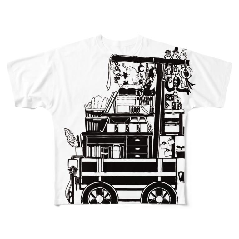 ろう飼い主のモノクロ荷車1 Full graphic T-shirts