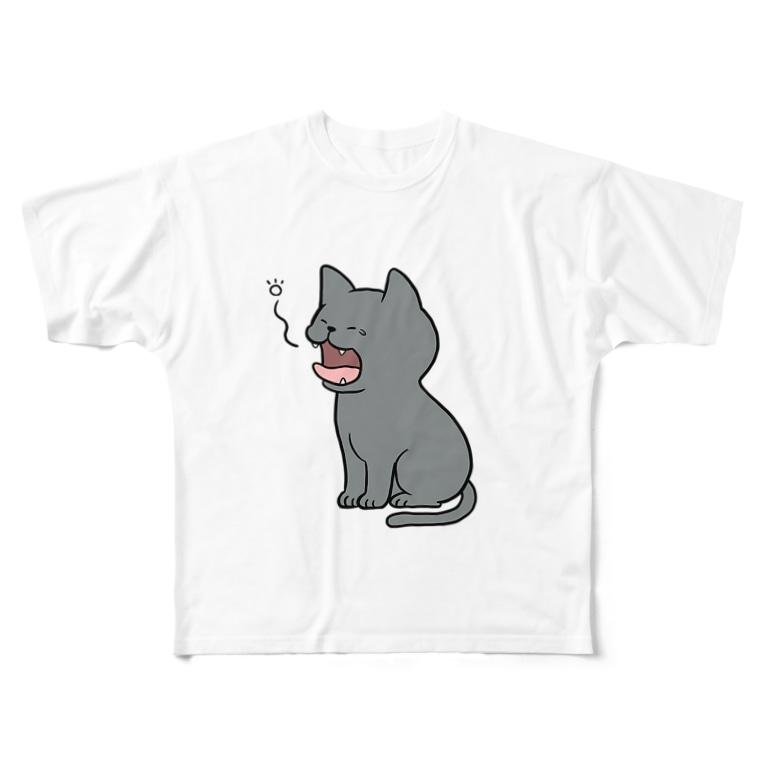 きゃっともとーくのあくびをするロシアンブルー  Full graphic T-shirts