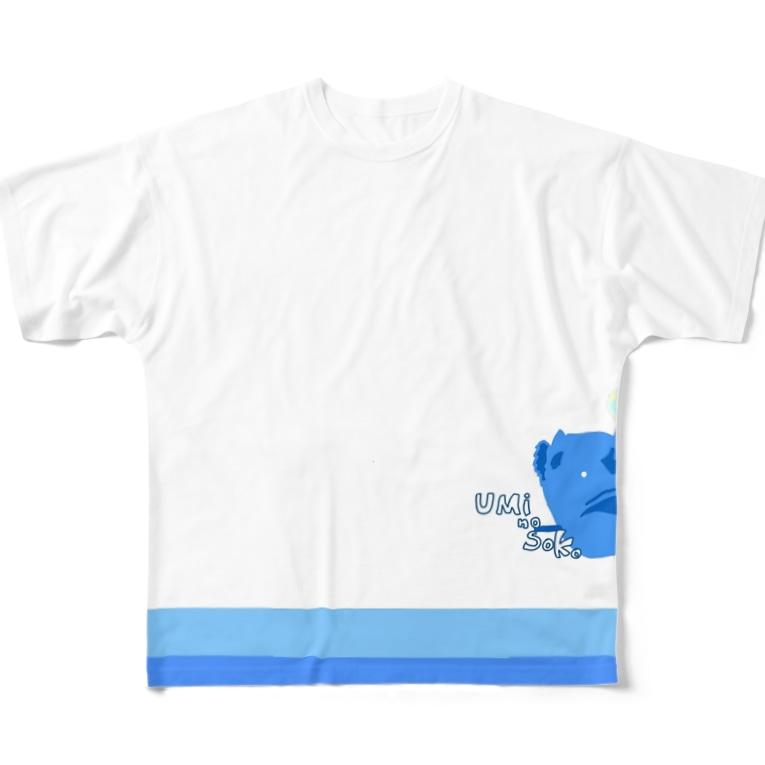 ぺぇねもんショップのチョウチンアンコウくん波に乗る Full graphic T-shirts