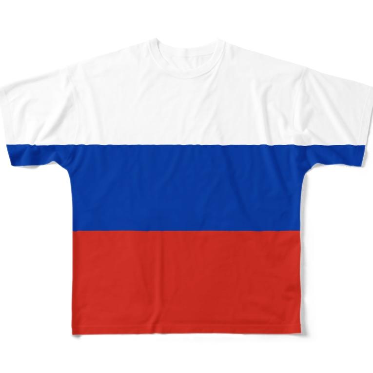 大のロシア国旗 全柄 Full graphic T-shirts