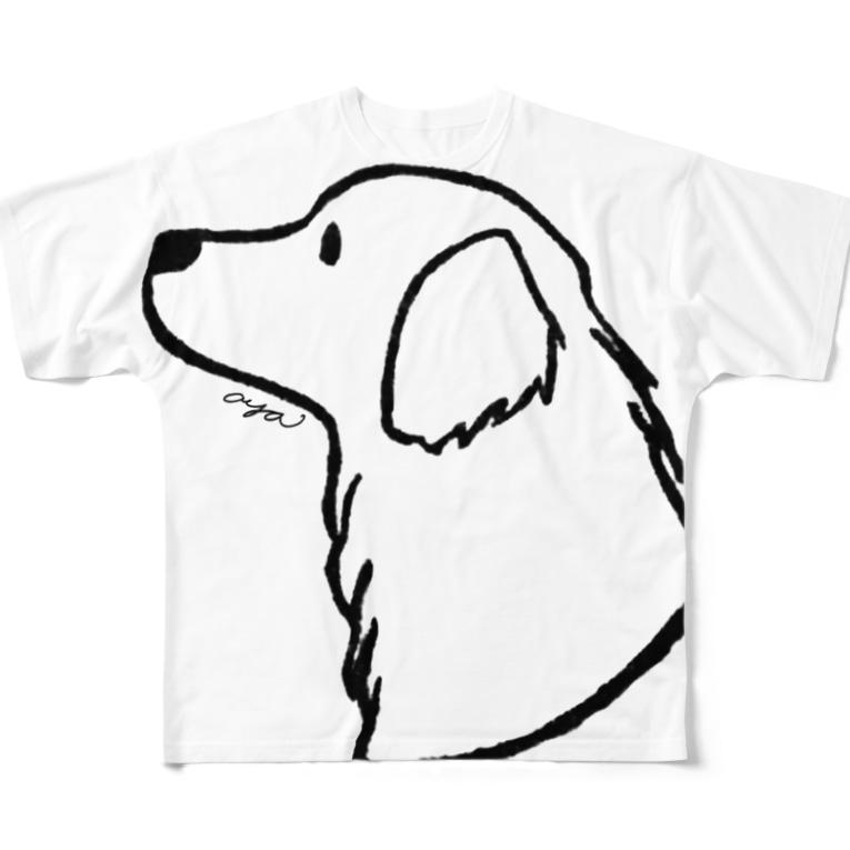 aya1のゴールデン・レトリーバー〈線〉 Full graphic T-shirts