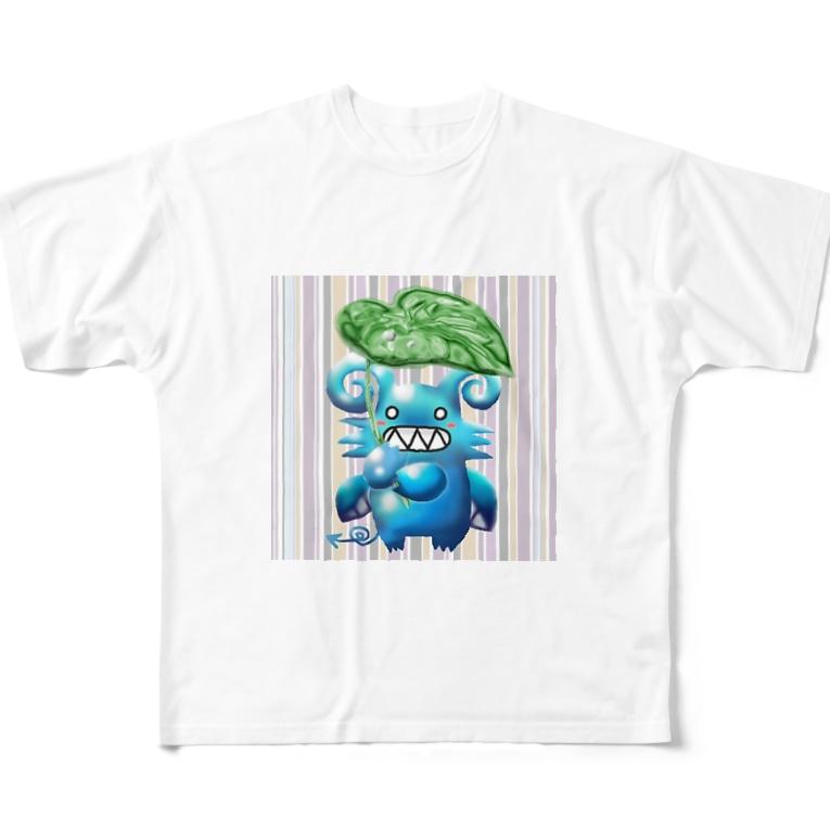 POISONCHARM電脳露店2号のグリちゃんと里芋傘 Full graphic T-shirts