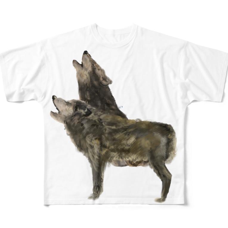 スマホdeイラストレーター・古川 セイのオオカミ Full graphic T-shirts
