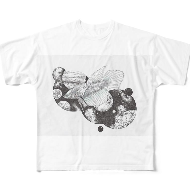 キダ虫の星空を泳ぐ Full graphic T-shirts