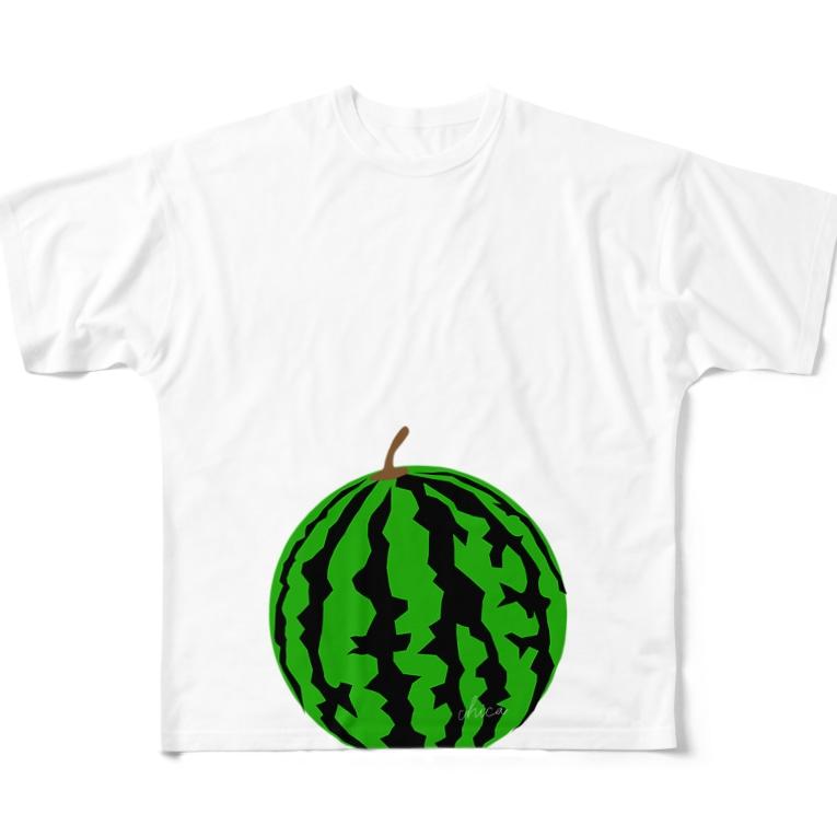 C Nのマタニティフォト すいか(スイカ) Full graphic T-shirts