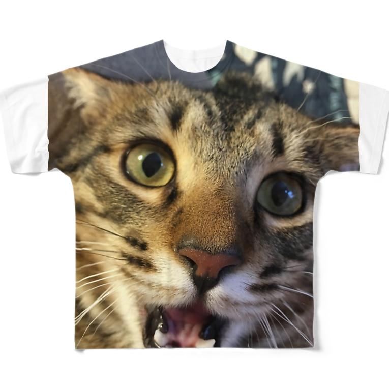 たにんごch公式ショップ【猫】のぽんぽこTシャツ Full graphic T-shirts