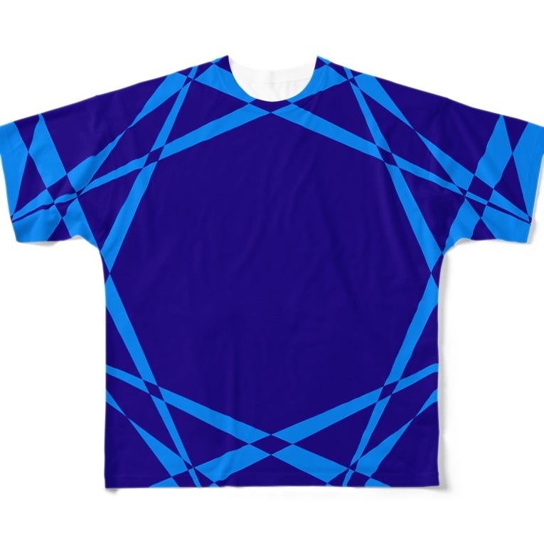 黒塚アキラ│本業×副業逆転目標🎶の模様(青+水色) Full graphic T-shirts
