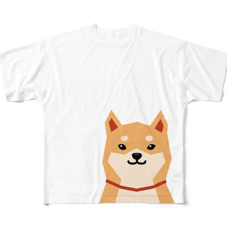 しばじるしデザインのいつもいっしょ(赤柴) Full graphic T-shirts