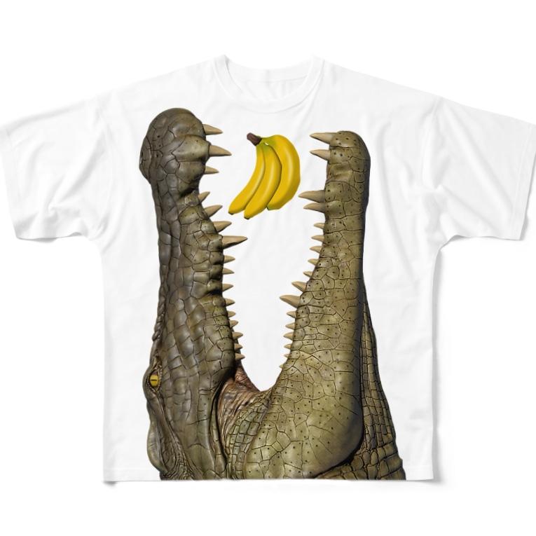 ワイルドデザインのわにシャツ (005) ワニ 鰐 wani とバナナ Full Graphic T-Shirt