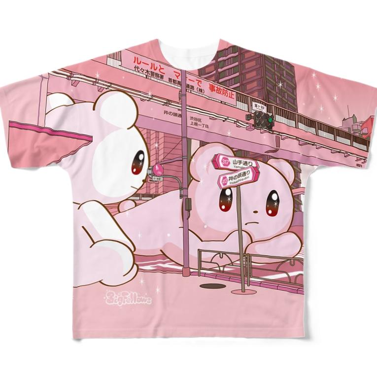 Salucoro SHOPのBig Fellows 富ヶ谷交差点 PINK Full graphic T-shirts