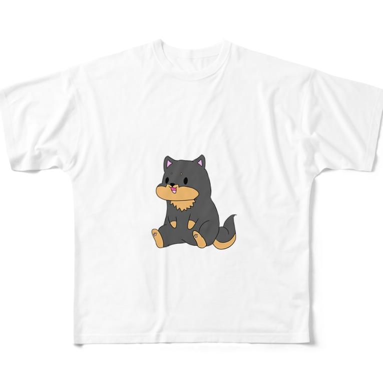 kurosiba0520のちょこんとおすわり黒柴 Full graphic T-shirts