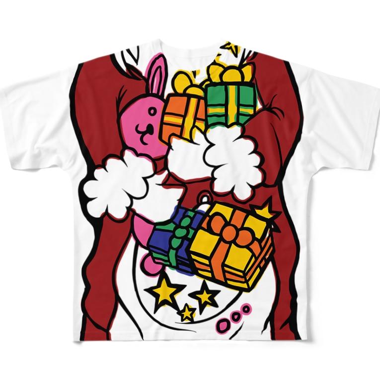 犬田猫三郎のサンタ変身シャツ Full graphic T-shirts