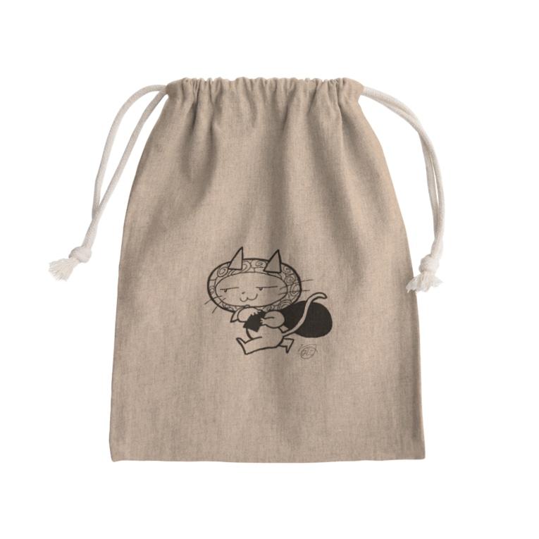 かいとうキャットの持ってけ怪盗(白黒) Mini Drawstring Bag