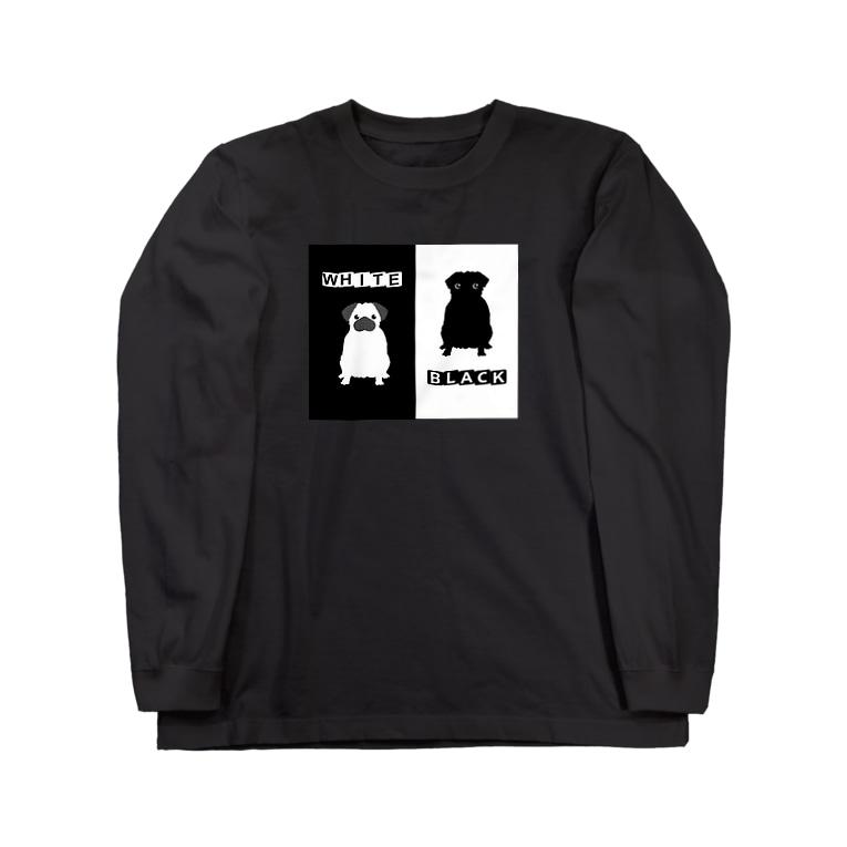 ゴータ・ワイの 白黒パグちゃん A Long sleeve T-shirts