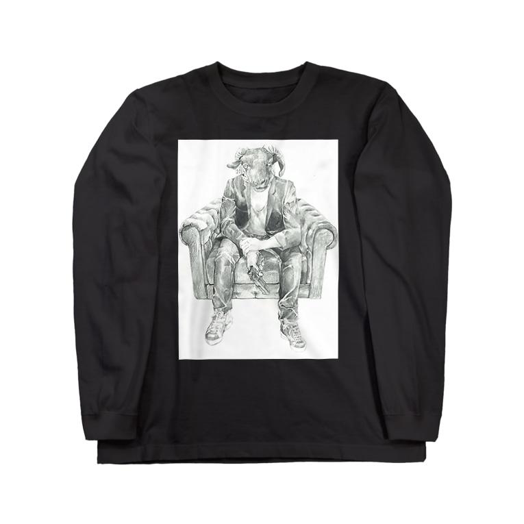 オトナヨカエンタープライズ(ぽの字の人)の眠らない夜の羊 Long sleeve T-shirts